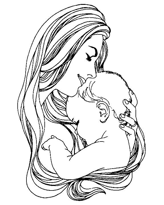 576x720 Mother And Child Coloring Pages For Mothers Day Mother