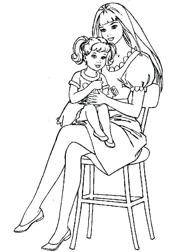 595x842 Coloring Pages Mother Child Free Coloring Pages Barbie Free Barbie