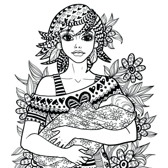 570x569 Coloring Pages Mother Child Mother And Baby Colouring Picture