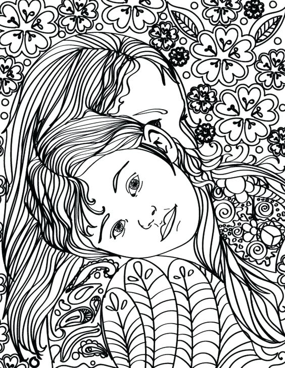 564x729 Free Printable Mother Daughter Hugging Adult Coloring Page Adult