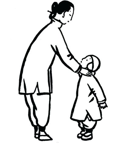 388x480 Father Son Coloring Pages Mother With A Little Son Father
