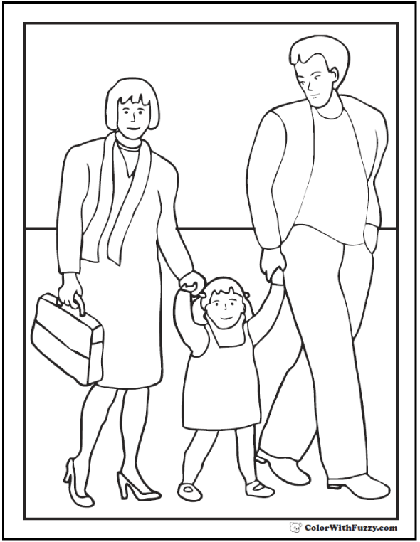 590x762 Family Father's Day Coloring Pages Mother, Father, Daughter