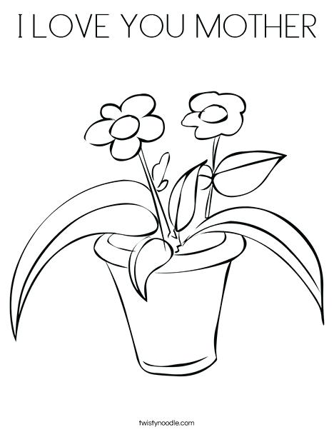 468x605 Mother Coloring Flowers In A Pot Coloring Page Mothers Day