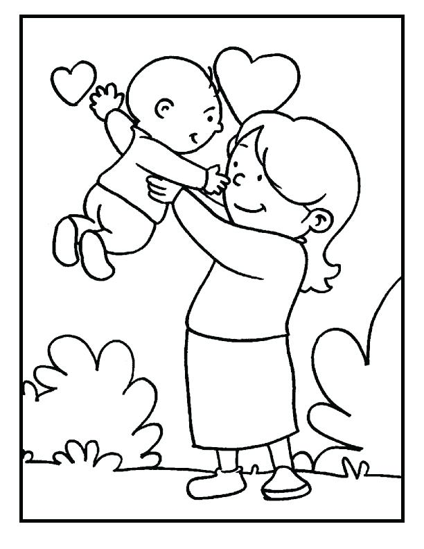 612x792 Mother Coloring Pages Baby And Mom On Mothers Day Coloring Picture