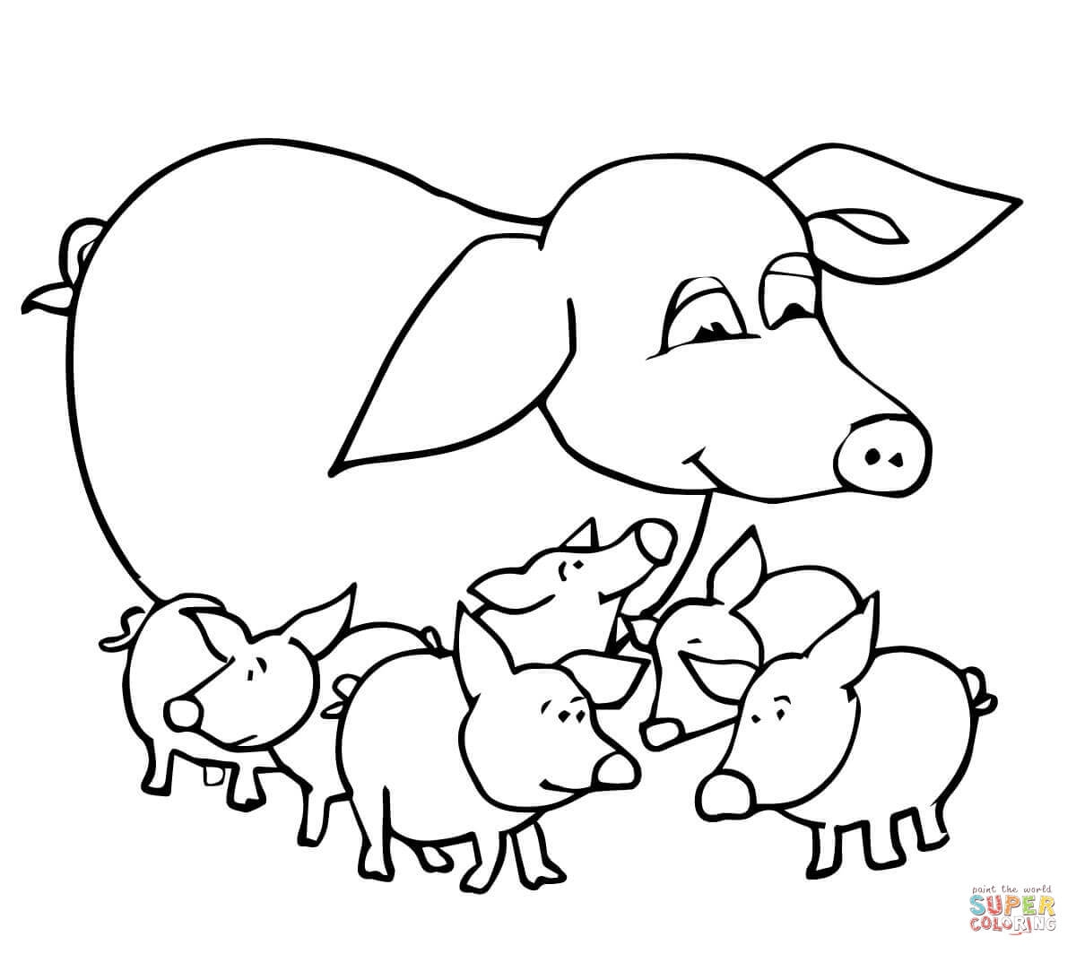 1200x1064 Cool Adult Baby Pigs And Mother Coloring Page Printable Pages