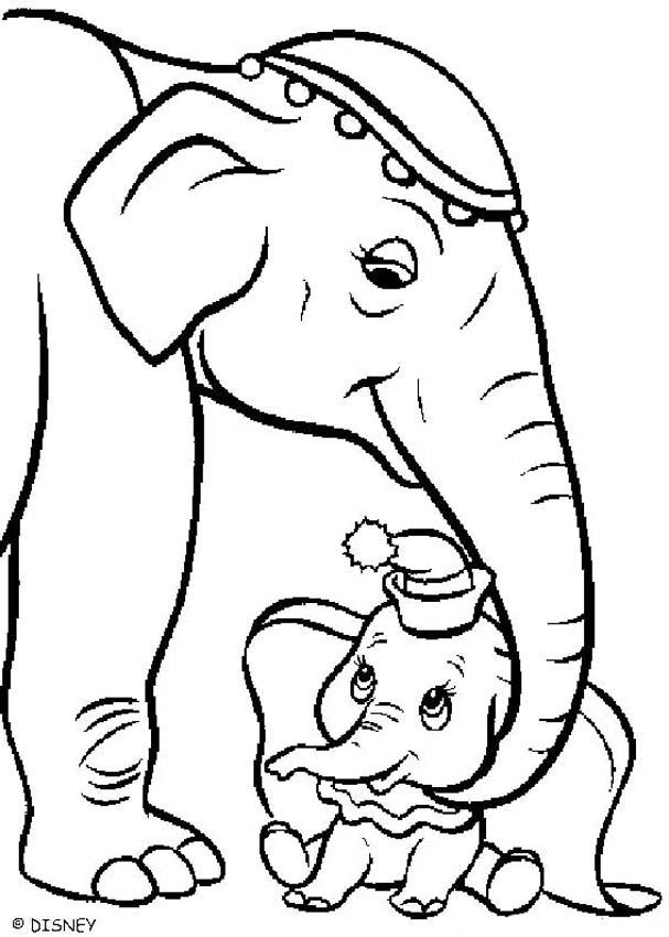 607x850 Dumbo With His Mother Coloring Pages