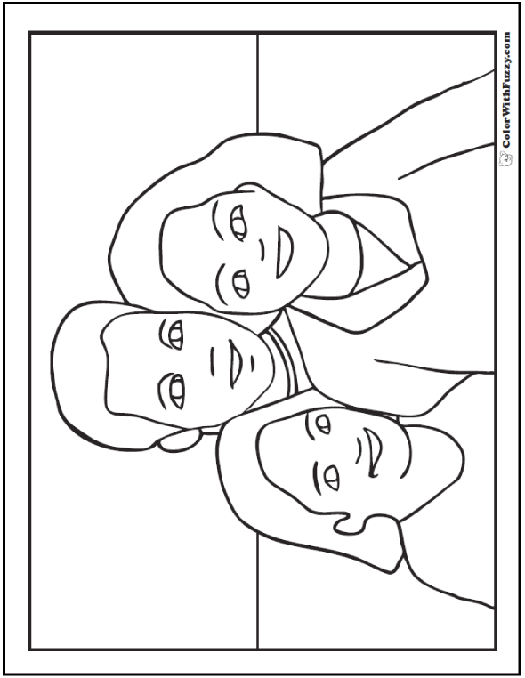 590x762 Happy Father's Day Coloring Pages Father, Mother, Daughter