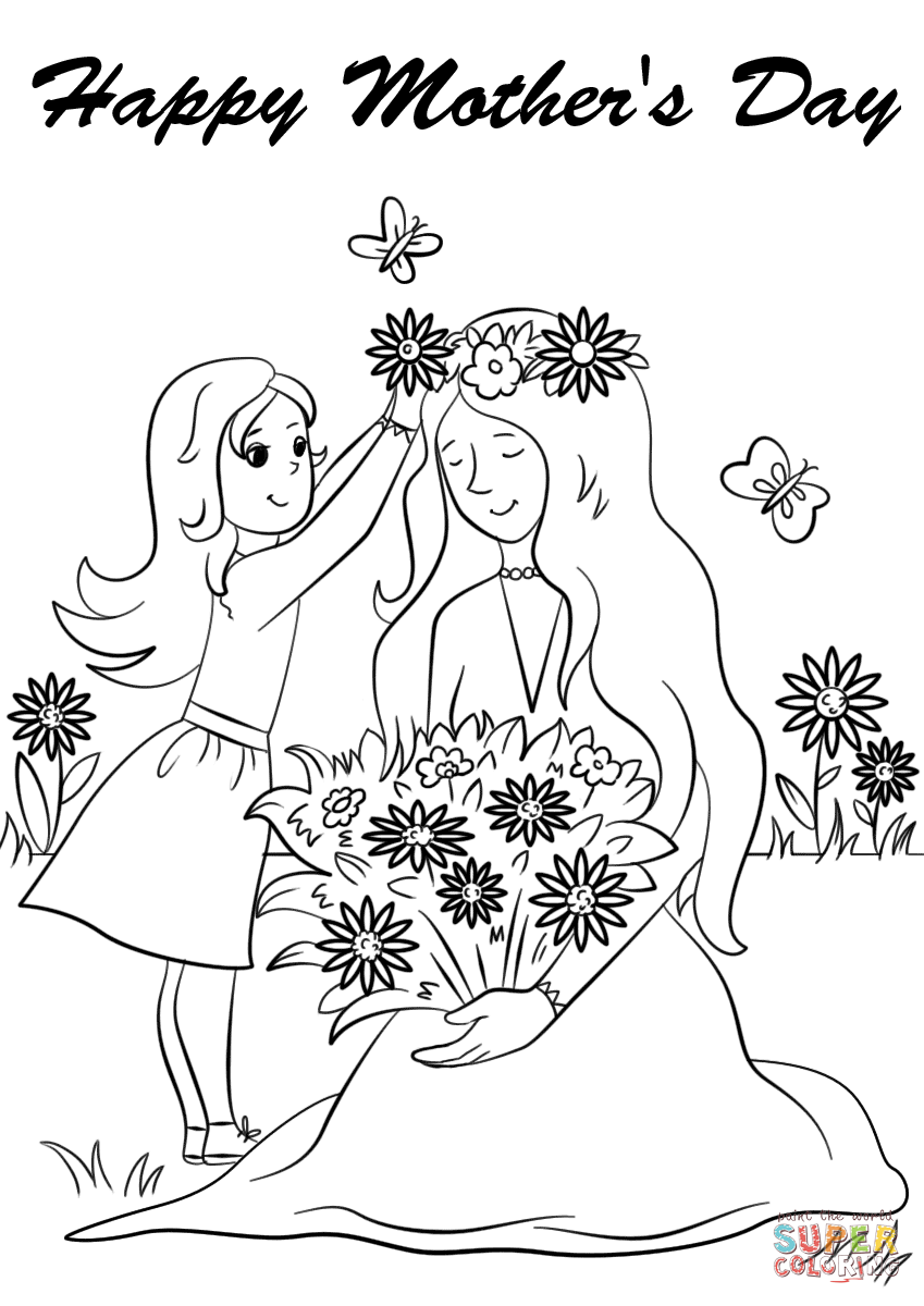 849x1200 Shrewd Mother Day Color Pages Printable Happy S Coloring Page Free