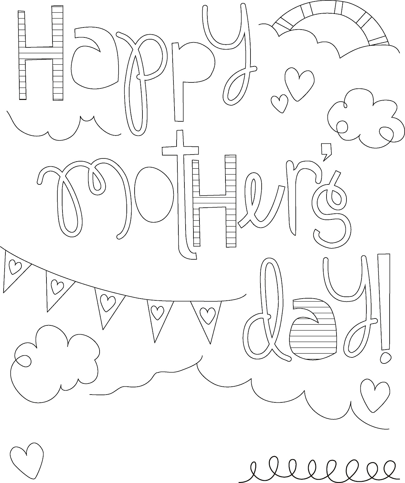 1342x1600 Coloring Book Free Printable Mothers Day Pages Happy Page Also