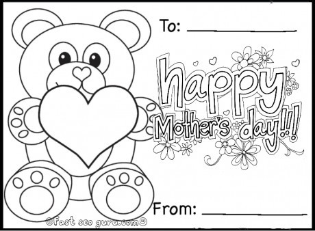 460x338 Free Kindergarten Mothers Day Coloring Pages Printable Happy Teddy