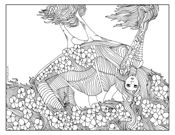 570x440 Items Similar To Mother Earth, Adult Coloring Page, Adult Coloring