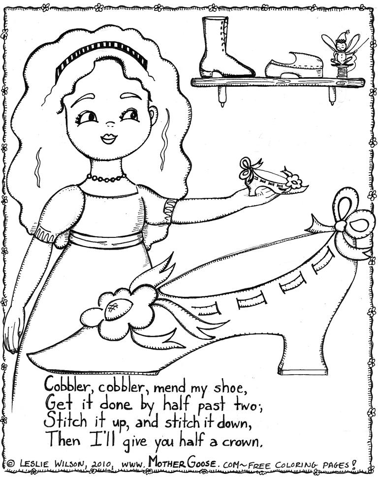 768x983 Cobbler, Cobbler Mend My Shoe Coloring Page, A Free Printable