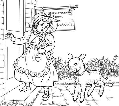 480x427 Mary Had A Little Lamb Nursery Rhyme Coloring Page From Mother