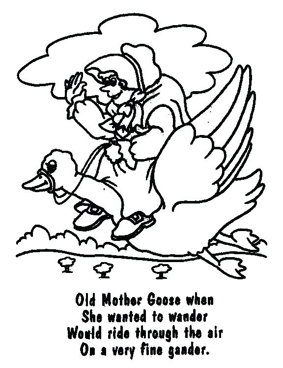 576x747 Goose Coloring Page Goose Free Mother Goose Nursery Rhymes