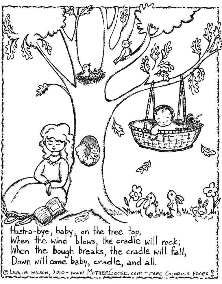 768x983 Hush A Bye Baby Lullabye Coloring Page, A Free Mother Goose