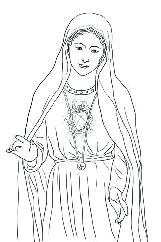 320x480 Mary Coloring Page Immaculate Heart Of Coloring Page Mother Mary