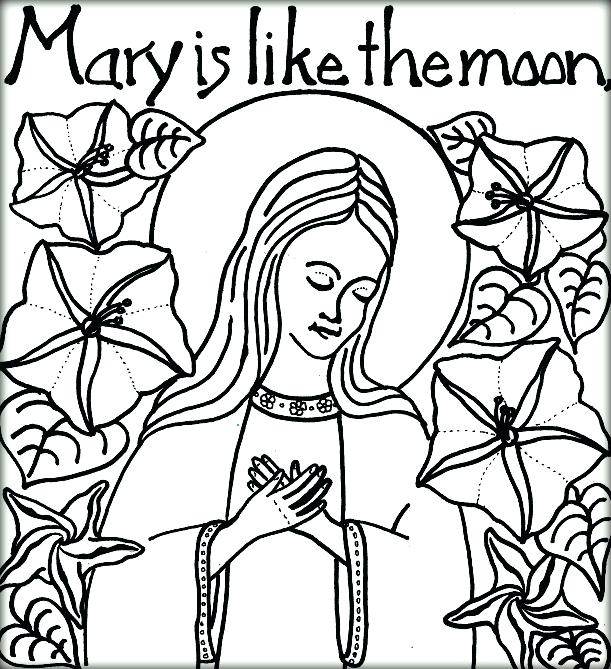 611x669 Virgin Mary Coloring Page Bible Virgin Like Moon Mother Mary