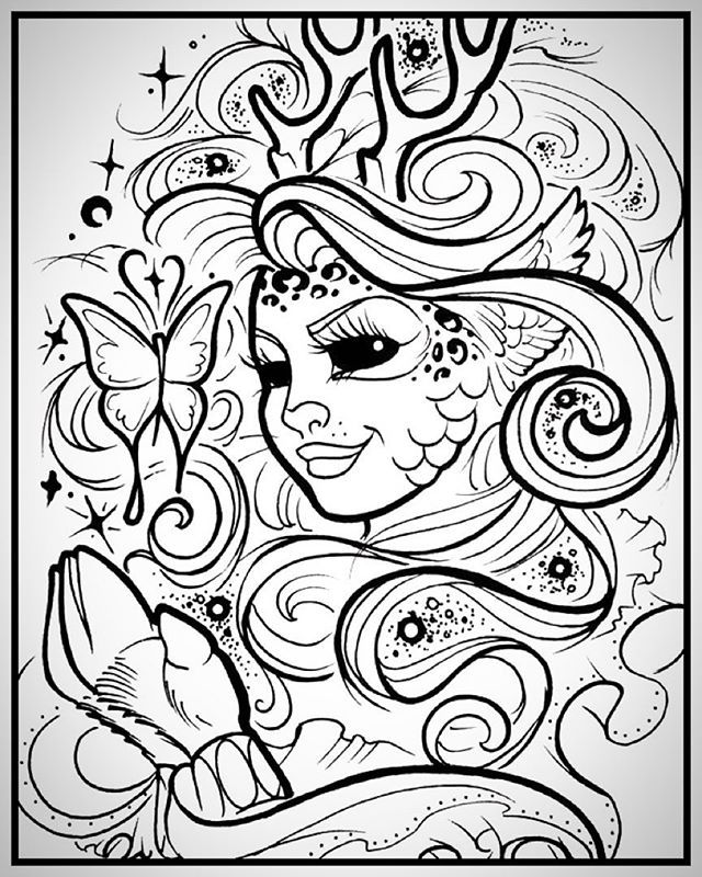 640x800 Free Printable Mother Nature Coloring Page