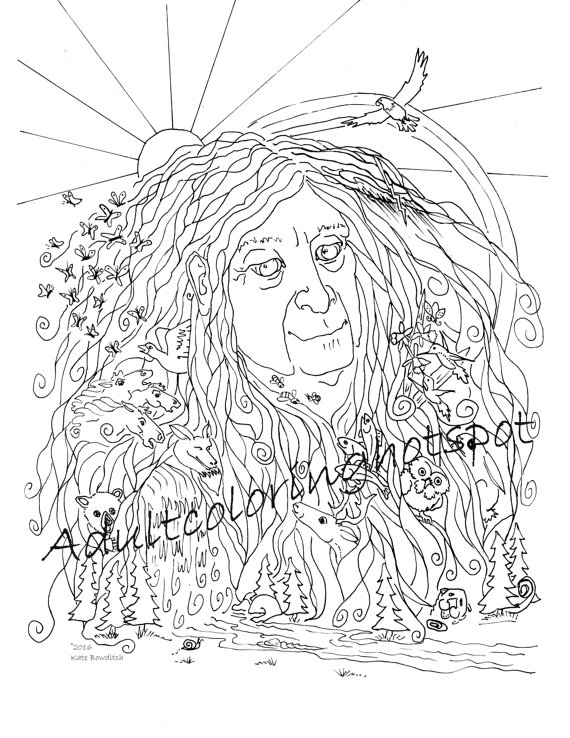 570x738 Adult Coloring Pages Mother Nature