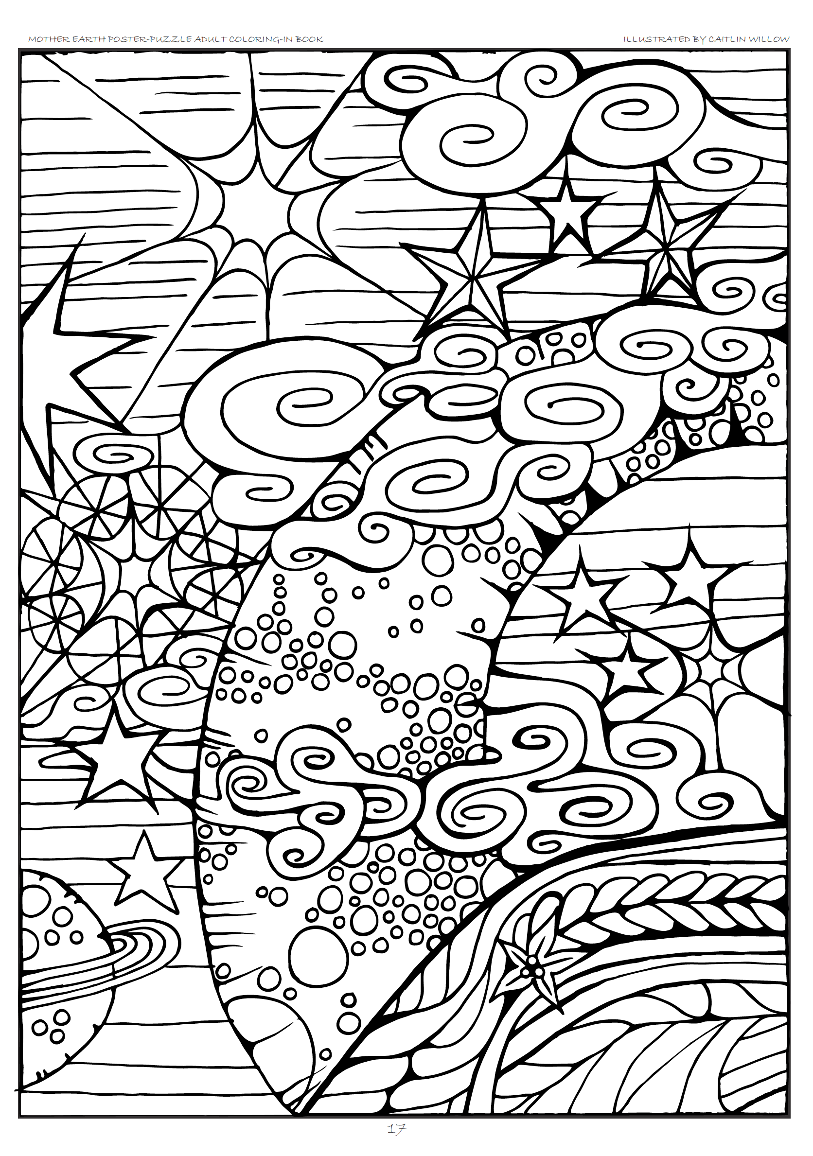 1672x2378 Mother Earth Poster Puzzle Adult Coloring In Book Adult Coloring