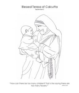 255x300 Coloring Page Of Mother Teresa For Catholic Kids Catholic