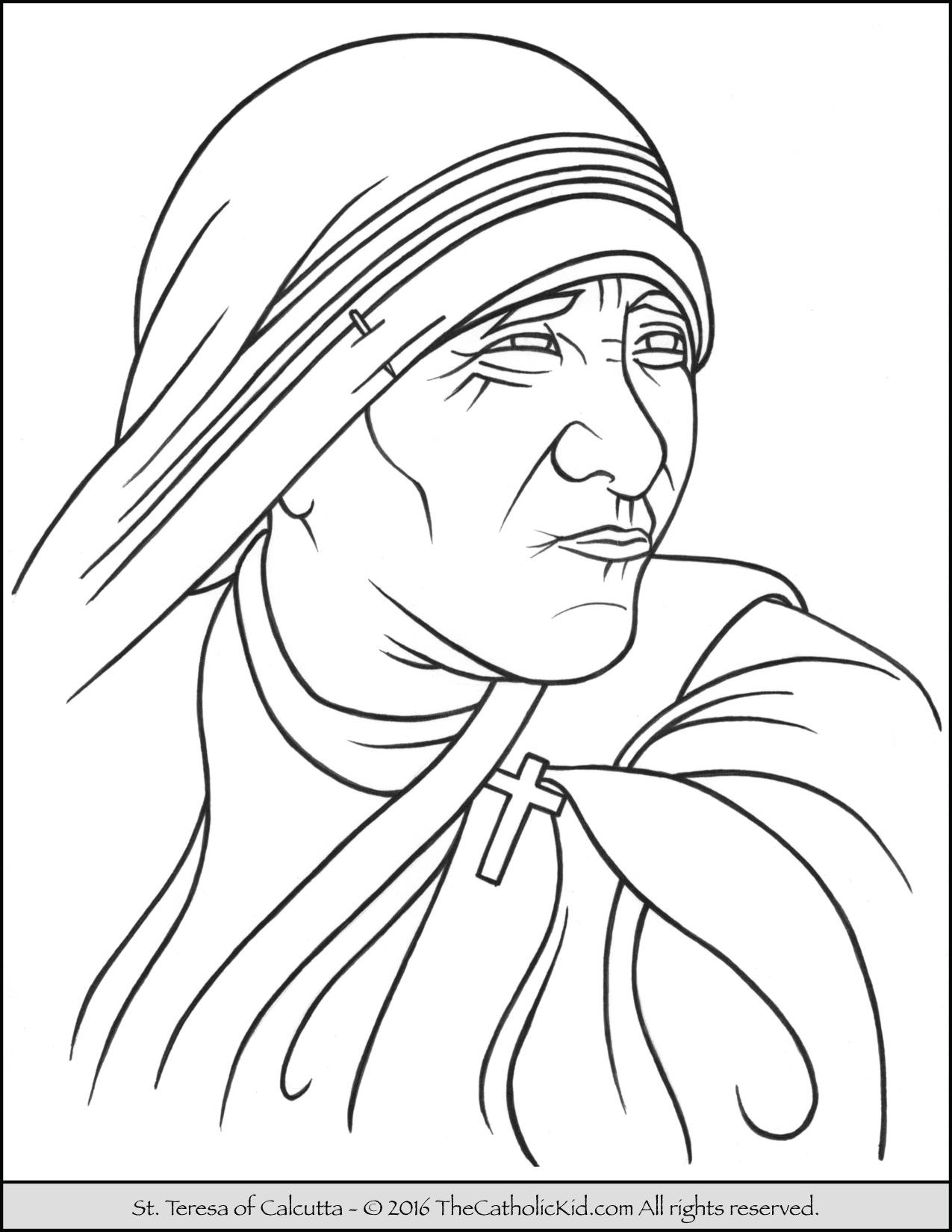 1275x1650 Saint Teresa Of Calcutta Coloring Page