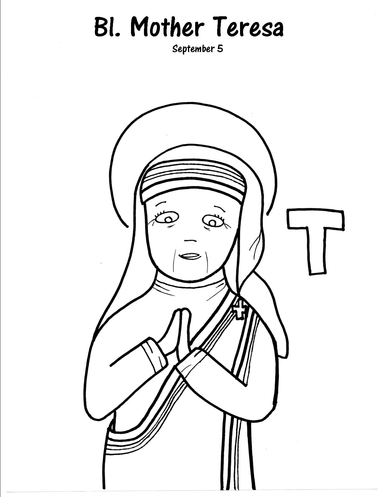 1275x1650 T Is For Blessed Mother Teresa Pdf, Filing And Craft