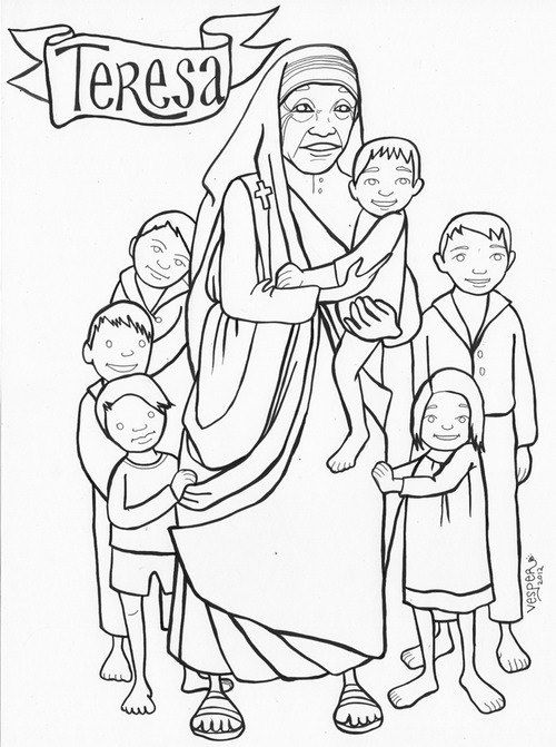 500x671 Mother Teresa Coloring Pages For Children Cf Catholic Kids