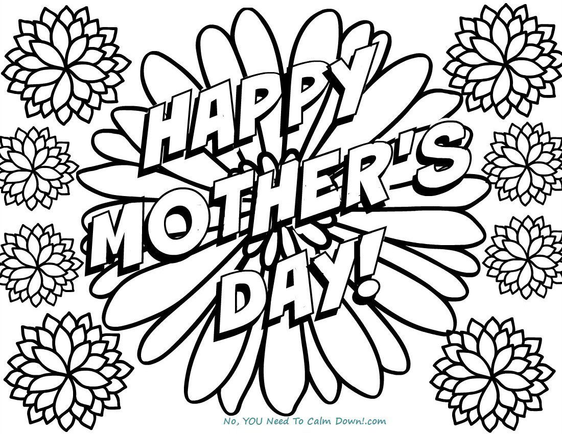 1100x850 Happy Mother's Day Flowers Coloring Page