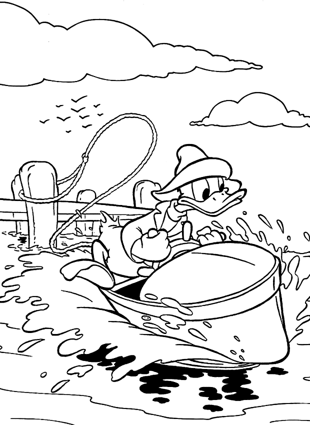 620x850 Drawing Donald Duck In A Motorboat Coloring Page