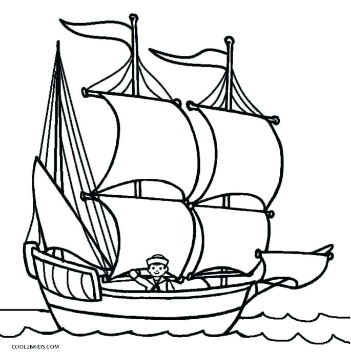 685x687 Boat Coloring Page Mayflower Boat Coloring Page Motor Boat