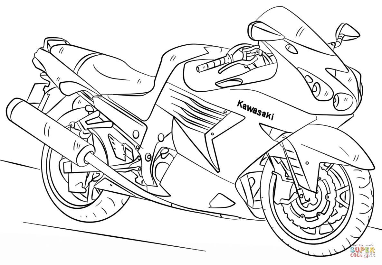 1186x824 Hurry Motorcycle Coloring Sheets Kawasaki Page Free Printable