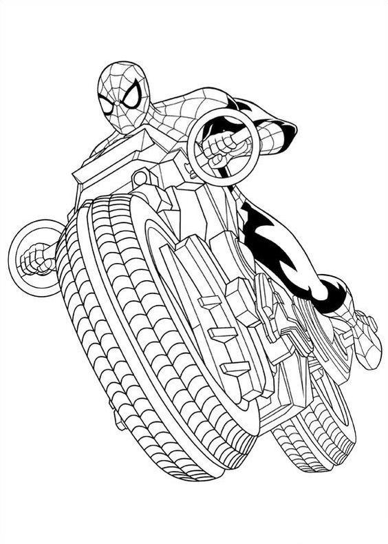 564x790 Spiderman Motorcycle Free Coloring Page Kids, Movies, Spiderman