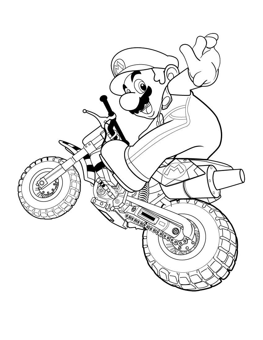850x1100 Happy Super Mario Motorcycle Coloring Page For Kids Coloring
