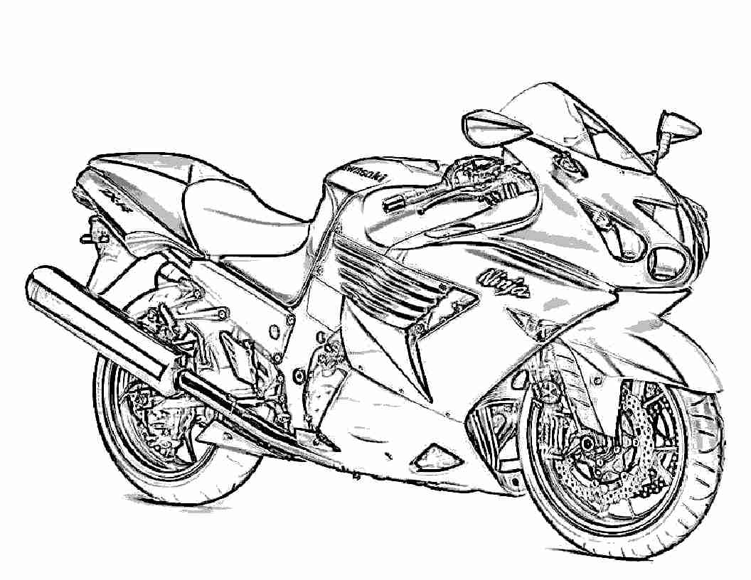 1056x816 Motorcycle Coloring Pages To Print Free Printable With Bike Color