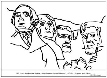 patriotic coloring pages mount rushmore - photo#26