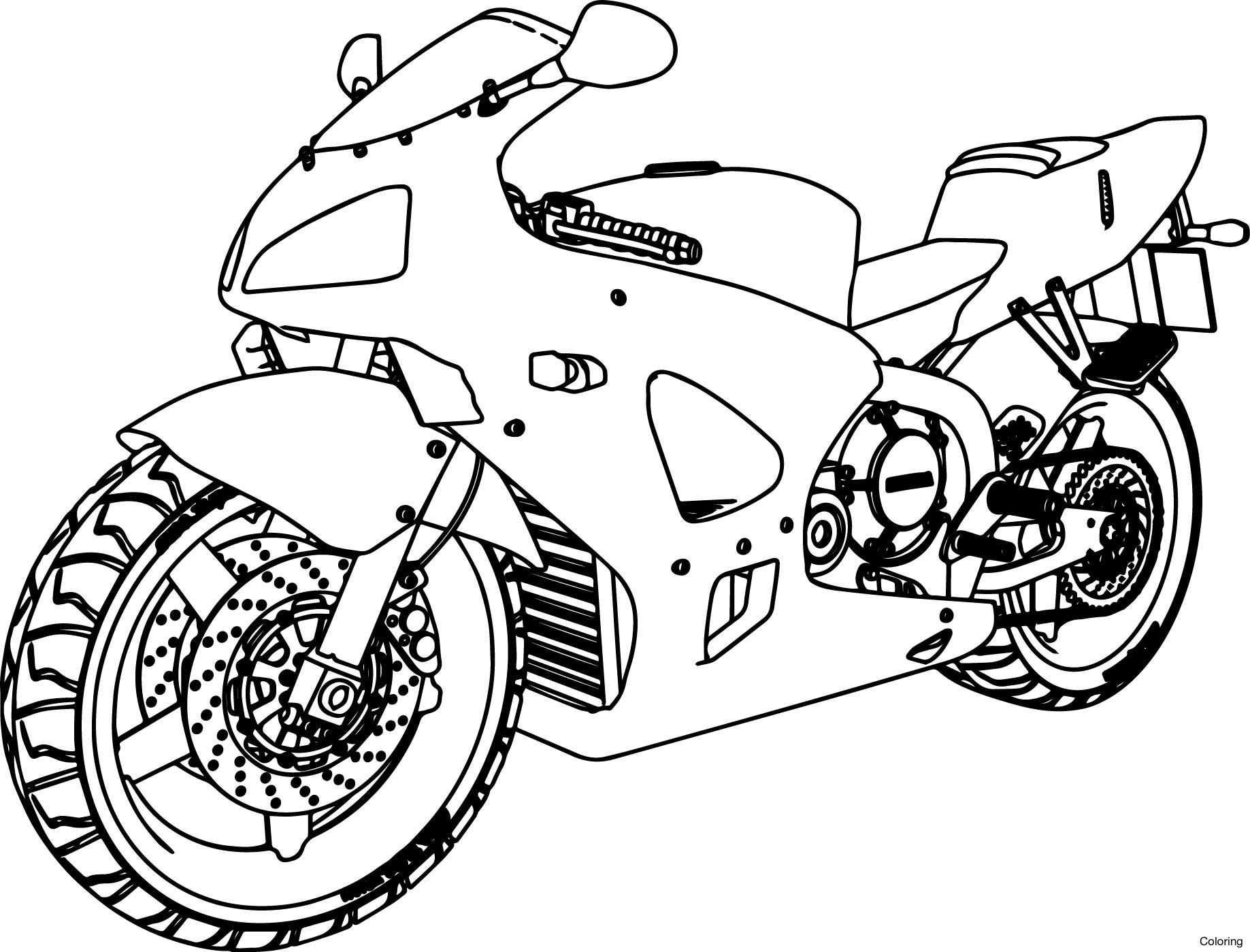 1837x1399 Downhill On Mountain Bike Coloring Page Bicycle Pages