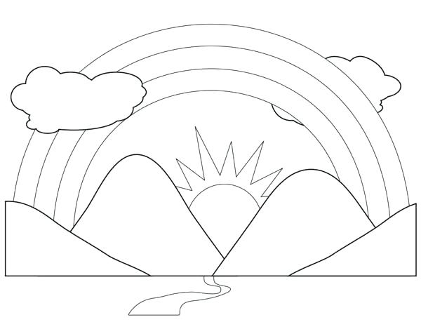 600x459 Mountain Coloring Pages A Scenic View Of Rainbow Behind
