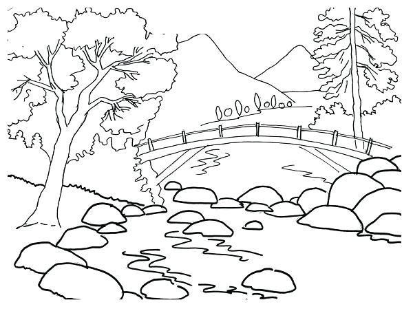 600x452 Mountain Coloring Pages Mountain And River Coloring Pages Mountain