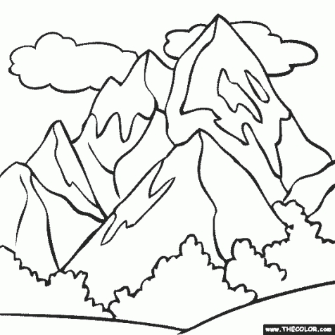 476x476 Mountain Coloring Pictures Amazing Mountain Coloring Page