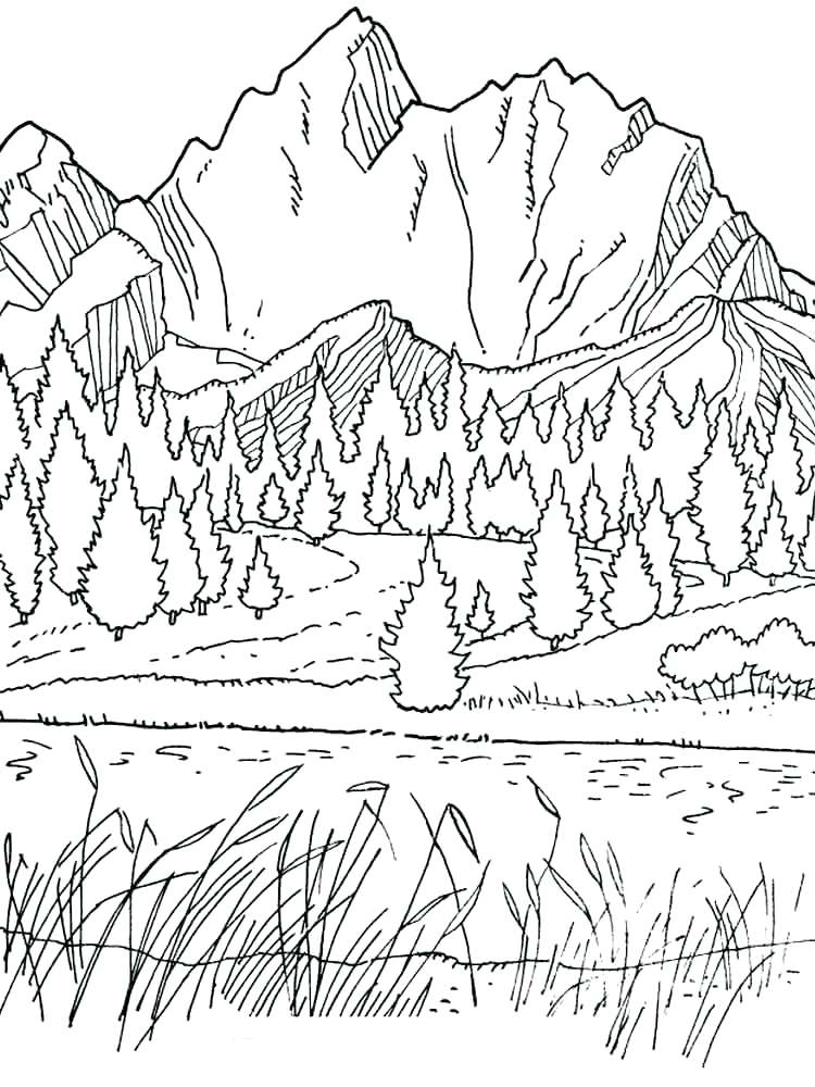Mountain Coloring Pages At Getdrawings Com Free For Personal Use