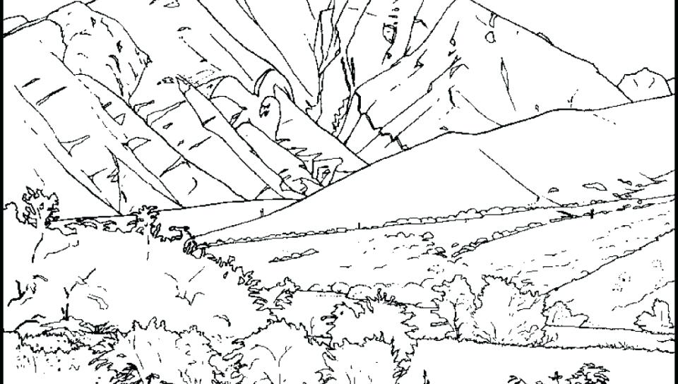 960x544 Mountains Coloring Page Coloring Pages Mountains Adults Printable