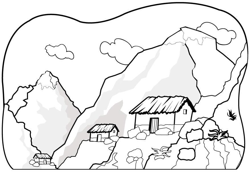 872x611 Printable Mountain Coloring Page