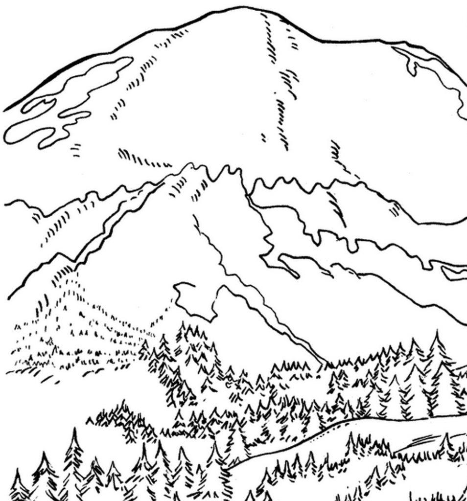 954x1024 Unique Mountain Coloring Pages