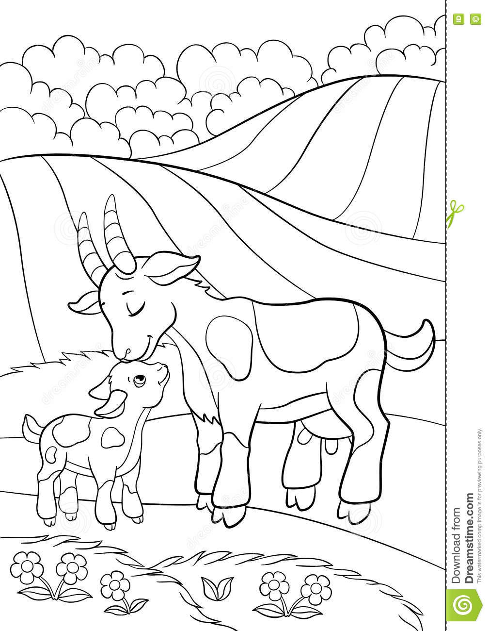 1009x1300 Coloring Page Color Me Goat Little Cute Baby Stock Vector