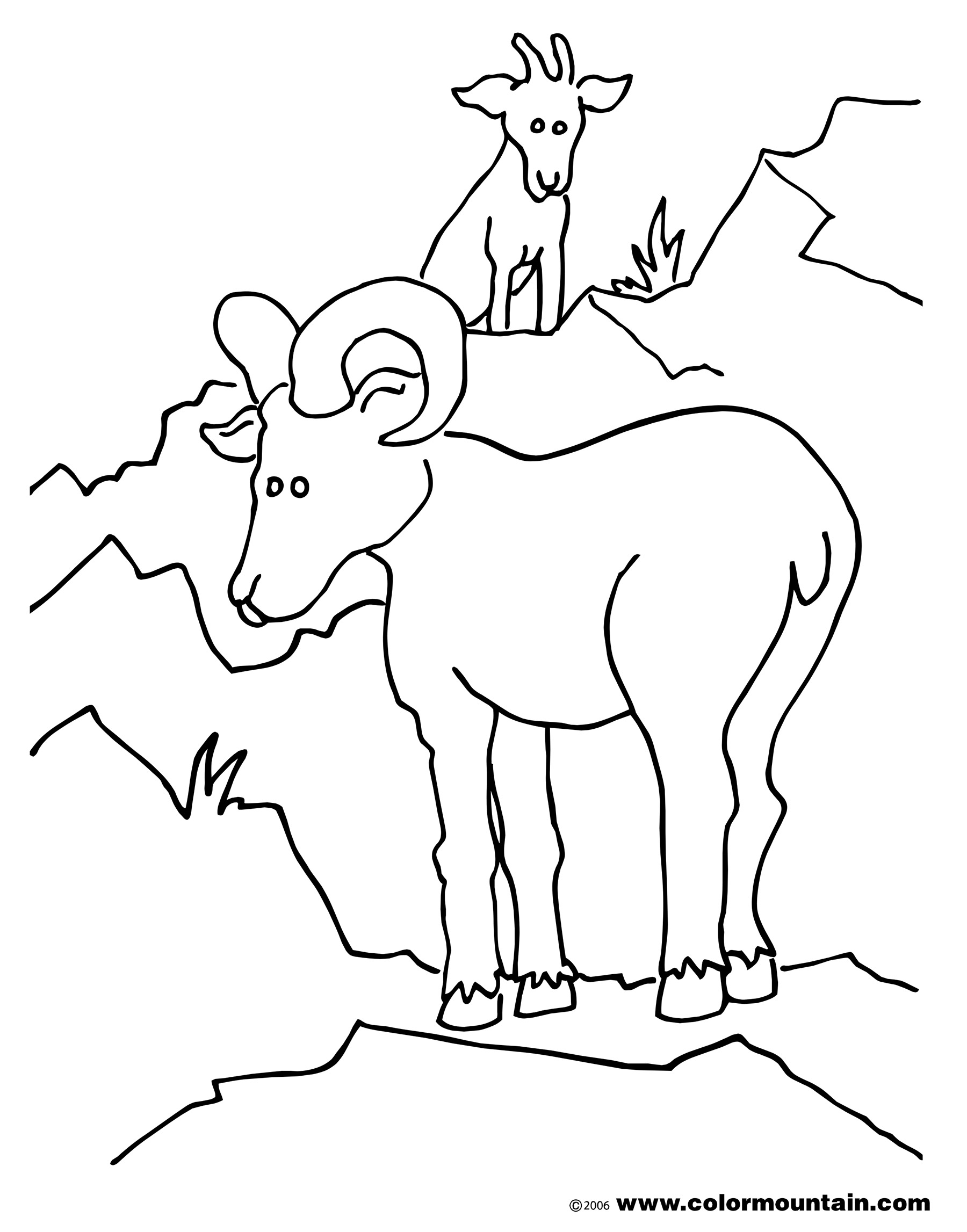 1800x2294 Mountain Goat Coloring Page