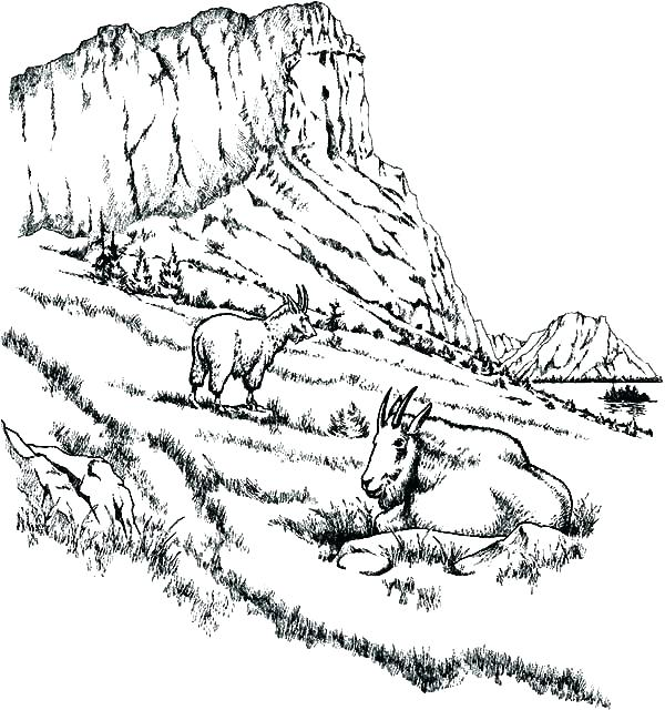 600x640 Mountain Coloring Pages