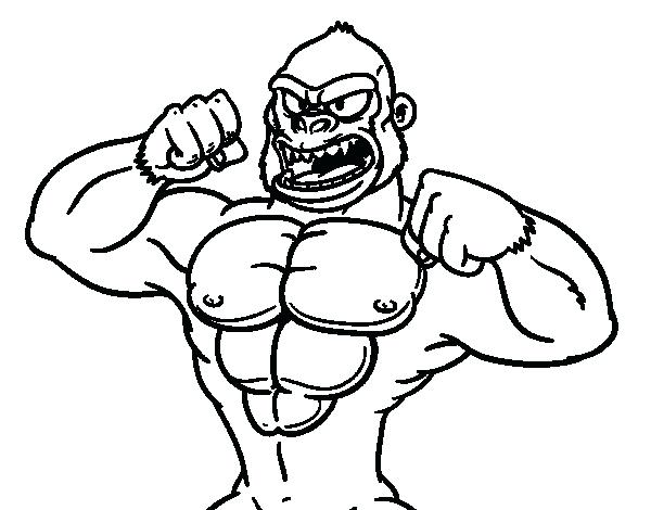 600x470 Gorilla Coloring Pages Strong Gorilla Coloring Page Goodnight