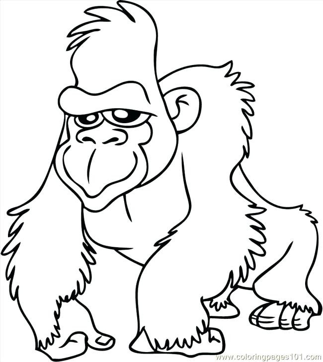 650x729 Gorilla Coloring Pages