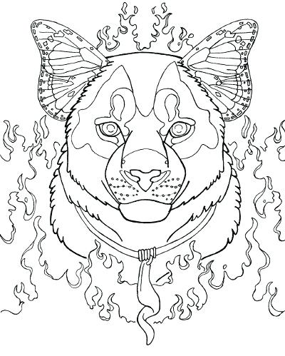 400x499 Mountain Lion Coloring Page Cougar Adult Coloring Page Fire Bone